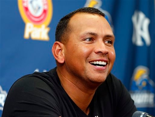 New York Yankees third baseman Alex Rodriguez answers questions from the media during a news conference after a minor league baseball rehab start with the Trenton Thunder in a game against the Reading Phillies, Saturday, Aug. 3, 2013, in Trenton, N.J.