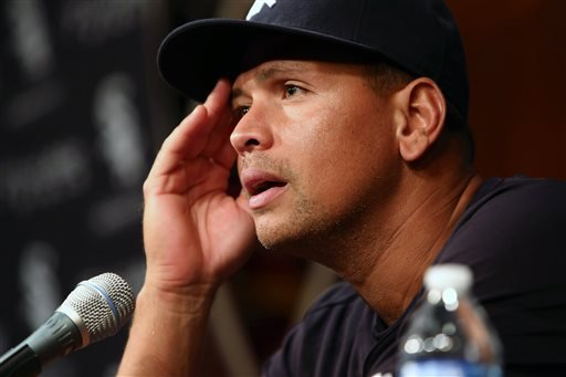 New York Yankees' Alex Rodriguez has a news conference before the Yankees play the Chicago White Sox in a baseball game at US Cellular Field in Chicago on Monday, Aug. 5, 2013.