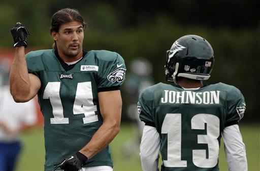 Philadelphia Eagles wide receivers Riley Cooper, left, and Damaris Johnson talk during a joint NFL football workout with the New England Patriots, Tuesday, Aug. 6, 2013, in Philadelphia. (AP Photo/Matt Slocum)
