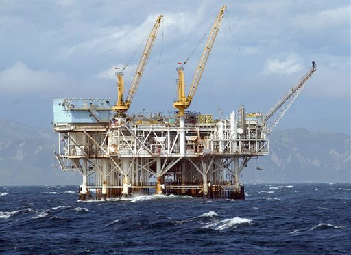 FILE- This file photo taken April 12, 2005 shows the oil platform Gilda is seen in federal waters in the Santa Barbara Channel off Ventura, Calif. (AP)