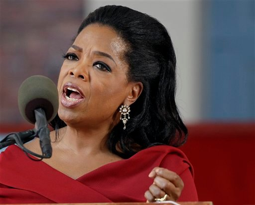 In this May 30, 2013 file photo, Oprah Winfrey speaks during Harvard University's commencement ceremonies in Cambridge, Mass. (AP Photo/Elise Amendola, File)