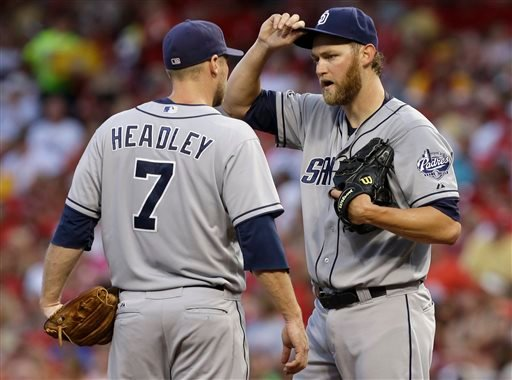 San Diego Padres third baseman Chase Headley (7) talks with starting pitcher Andrew Cashner in the fourth inning of a baseball game against the Cincinnati Reds, Friday, Aug. 9, 2013, in Cincinnati. (AP Photo/Al Behrman)