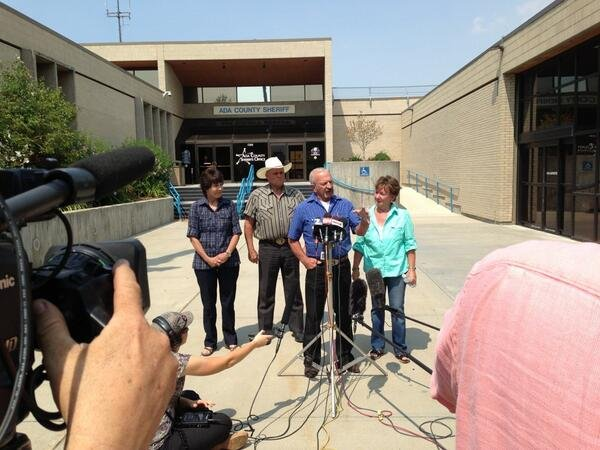 Standing out in front of the Ada County Sheriff's Office in Boise, witnesses, from left to right, Mary Young, Mike Young, Mark John and Christa John speak with news reporters Sunday Aug. 11, 2013 about their sighting of Hannah Anderson and James DiMaggio