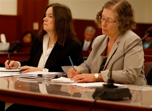 Attorneys Sharon O'Grady, left, and Tamar Pachter represent the Governor Jerry Brown in the proceedings Sunday Aug. 11, 2013, in San Francisco.