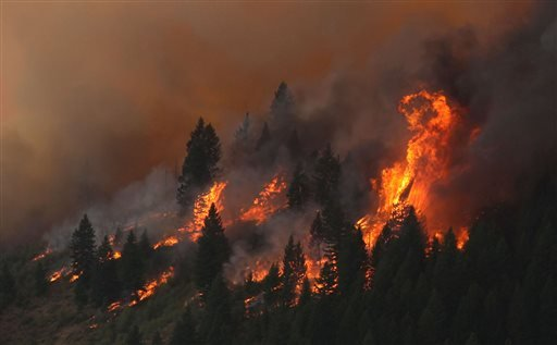 The 80,300-acre Elk Fire Complex burns across Elmore County, Idaho , Sunday Aug. 11, 2013.