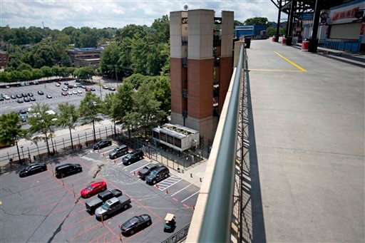 The player's parking lot is seen from the upper-level platform from where 30-year-old Ronald Homer fell during Monday night's game at Turner Field, Tuesday, Aug. 13, 2013, in Atlanta. (AP)