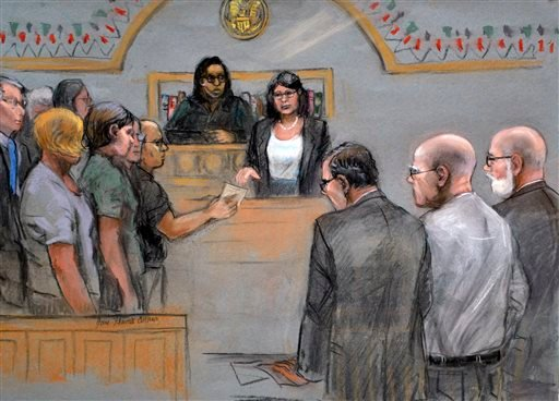 "In this courtroom sketch, James ""Whitey"" Bulger, second from right, stands with defense attorneys Hank Brennan, third from right, and J.W. Carney, right, as the jury submits its verdicts before Magistrate Judge Marianne Bowler Monday, Aug. 12, 2013."