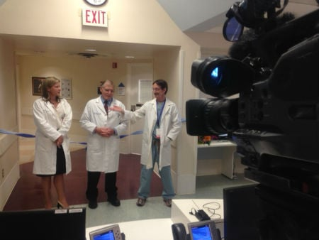 Doctors speaking at the ribbon cutting at Rady Children's Hospital. Courtesy: News 8 Photographer Ann Marie Spaulding.