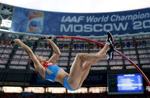 Russia's Yelena Isinbayeva competes in the women's pole vault final at the World Athletics Championships in the Luzhniki stadium in Moscow, Russia, Tuesday, Aug. 13, 2013.