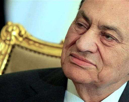 In this Tuesday, Feb. 8, 2011 file photo, the Egyptian President Hosni Mubarak sits during his meeting with Emirates foreign minister, not pictured, at the Presidential palace in Cairo, Egypt.
