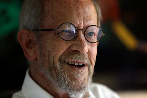 In this Monday, Sept. 17, 2012 file photo, Author Elmore Leonard, 86, smiles during an interview at his home in Bloomfield Township, Mich. Leonard, a former adman who later in life became one of America's foremost crime writers, has died. He was 87.