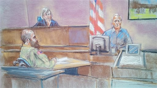 Courtroom sketch: defense witness Stephen Bennett, right, testifies as Maj. Nidal Malik Hasan, left, and presiding judge Col. Tara Osborn look on in court during Hasan's court-martial in Fort Hood, Texas Aug. 20, 2013. (AP Photo/Brigitte Woosley)