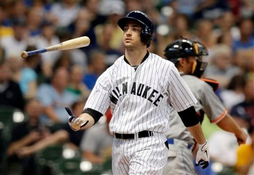 FILE - In this July 20, 2013, file photo, Milwaukee Brewers' Ryan Braun flips his bat after striking out during the third inning of a baseball game against the Miami Marlins in Milwaukee. (AP)