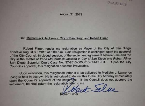A resignation letter signed by Mayor Bob Filner Wednesday, August 21.