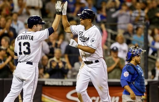 San Diego Padres' Will Venable high fives with Chris Denorfia after his solo home run against the Chicago Cubs in the seventh inning of an MLB National League baseball game Friday, Aug. 23, 2013, in San Diego. (AP Photo/Lenny Ignelzi)