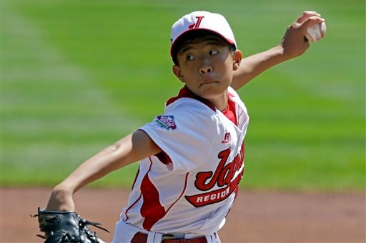 Tokyo, Japan, pitcher Seiya Nishino delivers against Tijuana, Mexico during the first inning of an International Championship baseball game at the Little League World Series tournament in South Williamsport, Pa., Saturday, Aug. 24, 2013.