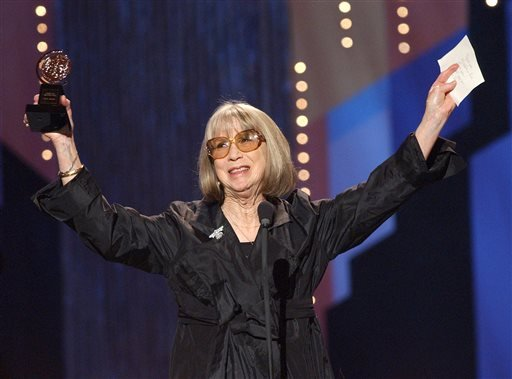 This June 2, 2002 file photo shows Julie Harris celebrating her special Tony Award for Lifetime Achievement in the Theatre during the 56th annual Tony Awards at New York's Radio City Music Hall.