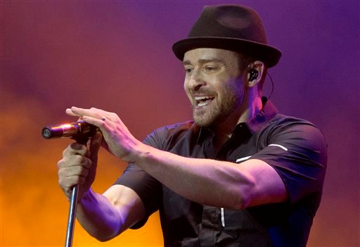 In this July 12, 2013, file photo, Justin Timberlake performs during the Wireless Festival at the Queen Elizabeth Olympic Park in London.