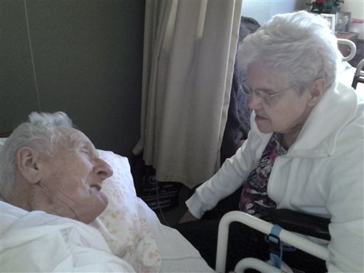 This June 2013 photo provided by the Knapke family shows Harold and Ruth Knapke. Relatives of the Ohio couple, who died at a nursing home 11 hours apart on the same day, said their love story's ending reflects their devotion over 65 years of marriage.(AP)