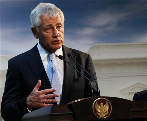 This Aug. 26, 2013 file photo shows Defense Secretary Chuck Hagel speaking in Jakarta, Indonesia.