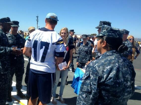 Chargers practice on USS Ronald Reagan then sign autographs. Pic from News 8's Steve Price
