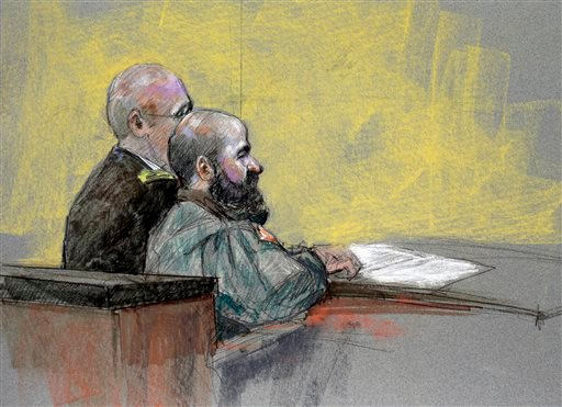 In this courtroom sketch, Maj. Nidal Hasan, right, appears at the Lawrence William Judicial Center during the sentencing phase of his trial, Tuesday, Aug. 27, 2013, in Fort Hood, Texas. (AP)