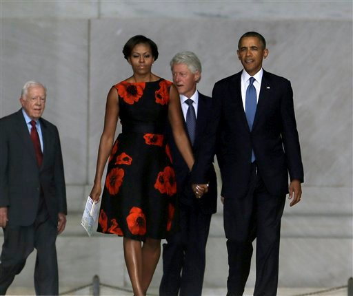 President Barack Obama, first lady Michelle Obama, former President Bill Clinton and former President Jimmy Carter arrive at the Let Freedom Ring ceremony at the Lincoln Memorial in Washington, Wednesday, Aug. 28, 2013. (AP)