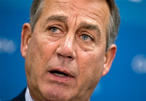 In this July 9, 2013, file photo House Speaker, Republican John Boehner of Ohio, pauses during a meeting with reporters on Capitol Hill in Washington. (AP Photo/J. Scott Applewhite, File)