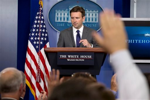 White House deputy press secretary Josh Earnest answers reporters questions in the briefing room of the White House in Washington, Thursday, Aug. 29, 2013. (AP)