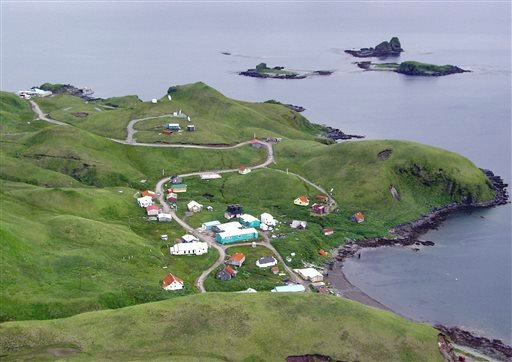This July 19, 2004 photo released by the Alaska Volcano Observatory/U.S. Geological Survey shows the village of Atka on Atka Island, Alaska.