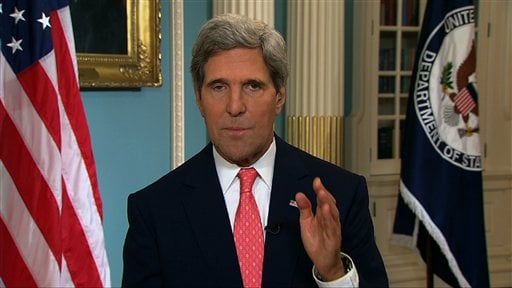 In this image from video U.S. Secretary of State John Kerry speaks from the State Department in Washington Sunday, Sept. 1, 2013, making a case for U.S. intervention in Syria.