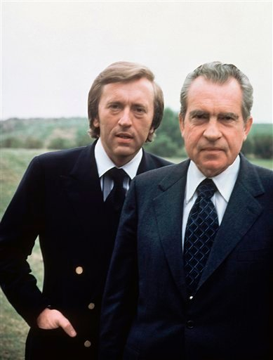 Former US President Richard M. Nixon, right, with broadcaster David Frost in California in this 1977 file photo. Sir David Frost has died at the age of 74 his family said in a statement Sunday Sept. 1 2013. (AP Photo, file)