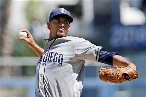 San Diego Padres starter Tyson Ross pitches to the Los Angeles Dodgers in the first inning of a baseball game in Los Angeles Sunday, Sept. 1, 2013. (AP Photo/Reed Saxon)