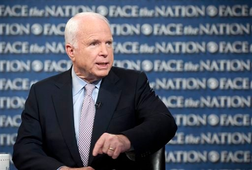 """In this photo provided by CBS News, Sen. John McCain, R-Ariz., talks about the U.S. response to Syria on CBS's """"Face the Nation"""" in Washington Sunday, Sept. 1, 2013."""