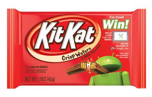 This undated product image provided by The Hershey Company shows the new Kit Kat label for The Hershey Company featuring Android's green robot mascot breaking a Kit Kat.