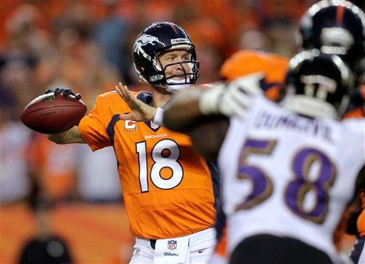 Denver Broncos quarterback Peyton Manning (18) throws his seventh touchdown of the game against the Baltimore Ravens during the second half of an NFL football game, Thursday, Sept. 5, 2013, in Denver.