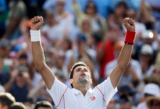Novak Djokovic, of Serbia, reacts after beating Stanislas Wawrinka, of Switzerland, during the semifinals of the 2013 U.S. Open tennis tournament, Saturday, Sept. 7, 2013, in New York. (AP Photo/David Goldman)