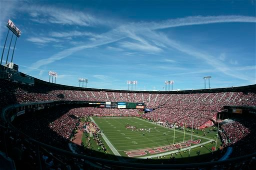 This Nov. 11, 2012 file photo shows Candlestick Park is shown during the first quarter of an NFL football game between the San Francisco 49ers and the St. Louis Rams in San Francisco.