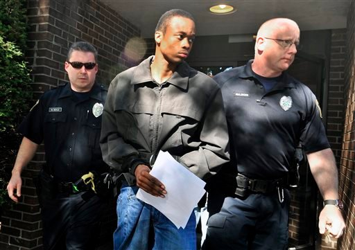 Daquan Breland is led out of Magistrate Rick Cronauers office Friday, Sept. 6, 2013 in Wilkes-Barre, Pa.