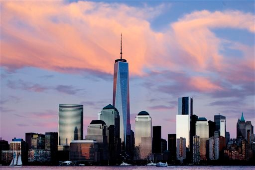 In this Sept. 4, 2013 photo, One World Trade Center rises above the lower Manhattan skyline in New York.