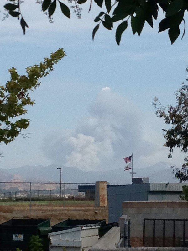 This is a viewer-submitted photo of the fire taken from Santee (West Hills High School). Courtesy: Daniel.