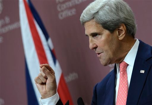 US Secretary of State John Kerry speaks during a news conference with Britain's Foreign Minister William Hague at the Foreign and Commonwealth Office in London, Monday, Sept. 9, 2013.