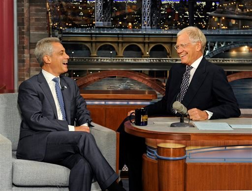 "In this photo provided by CBS Entertainment, Chicago Mayor Rahm Emanuel, left, laughs with late-night talk show host David Letterman during taping for the ""Late Show with David Letterman,"" Monday, Sept. 9, 2013, in New York."