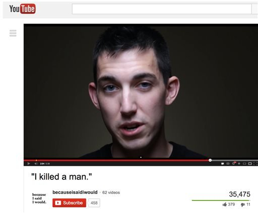 This video frame grab provided by Alex Sheen of becauseisaidiwould.com shows Matthew Cordle. (AP)