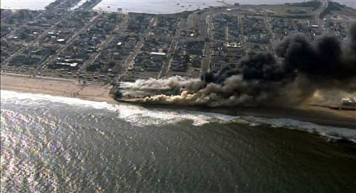 This frame grab from video provided by Fox 29 shows a raging fire in Seaside Heights, N.J. on Thursday, Sept. 12, 2013. (AP)