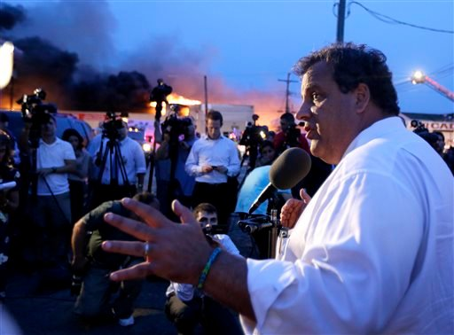 New Jersey Gov. Chris Christie addresses the media near the area hit by a massive fire on Thursday, Sept. 12, 2013, in Seaside Park, N.J. (AP)