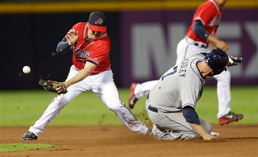 San Diego Padres' Chase Headley (7) steals second base as the ball gets away from Atlanta Braves second baseman Elliot Johnson in the fourth inning of a baseball game in Atlanta, Friday, Sept. 13, 2013. (AP Photo/John Bazemore)