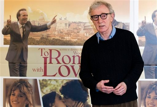 """In this April 13, 2012 file photo, director and actor Woody Allen poses during the photo call of the movie """"To Rome with Love,"""" in Rome."""