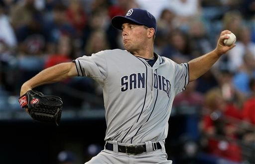 San Diego Padres starting pitcher Robbie Erlin works in the first inning of a baseball game against the Atlanta Braves in Atlanta, Saturday, Sept. 14, 2013. (AP Photo/John Bazemore)