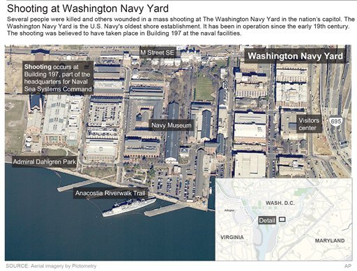 Map locates the Washington Navy Yard where a shooting occurred and several people were killed. ; 4c x 5 inches; 195.7 mm x 127 mm.